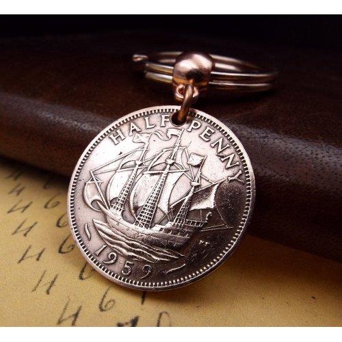 1959 British Half Penny Coin Keyring Birthday Gift