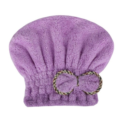 "Water Absorption Soft Turban Lovely Bowknot Shower Cap Bath Hair Dry Towel 9.84""x25.59""(Purple)"
