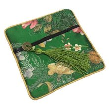 2PCS Chinese Style Purse Coins Jewelry Pouch Bag Zipper Pockets, Green