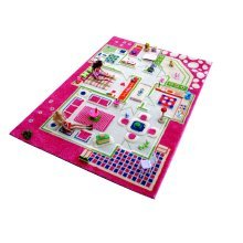 Kids Childrens Rug Play Mat in Playhouse Pink design 134 x 200cm