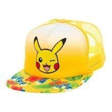 Pokemon Pikachu Winking Face with Floral Pattern Trucker Snapback Baseball Cap