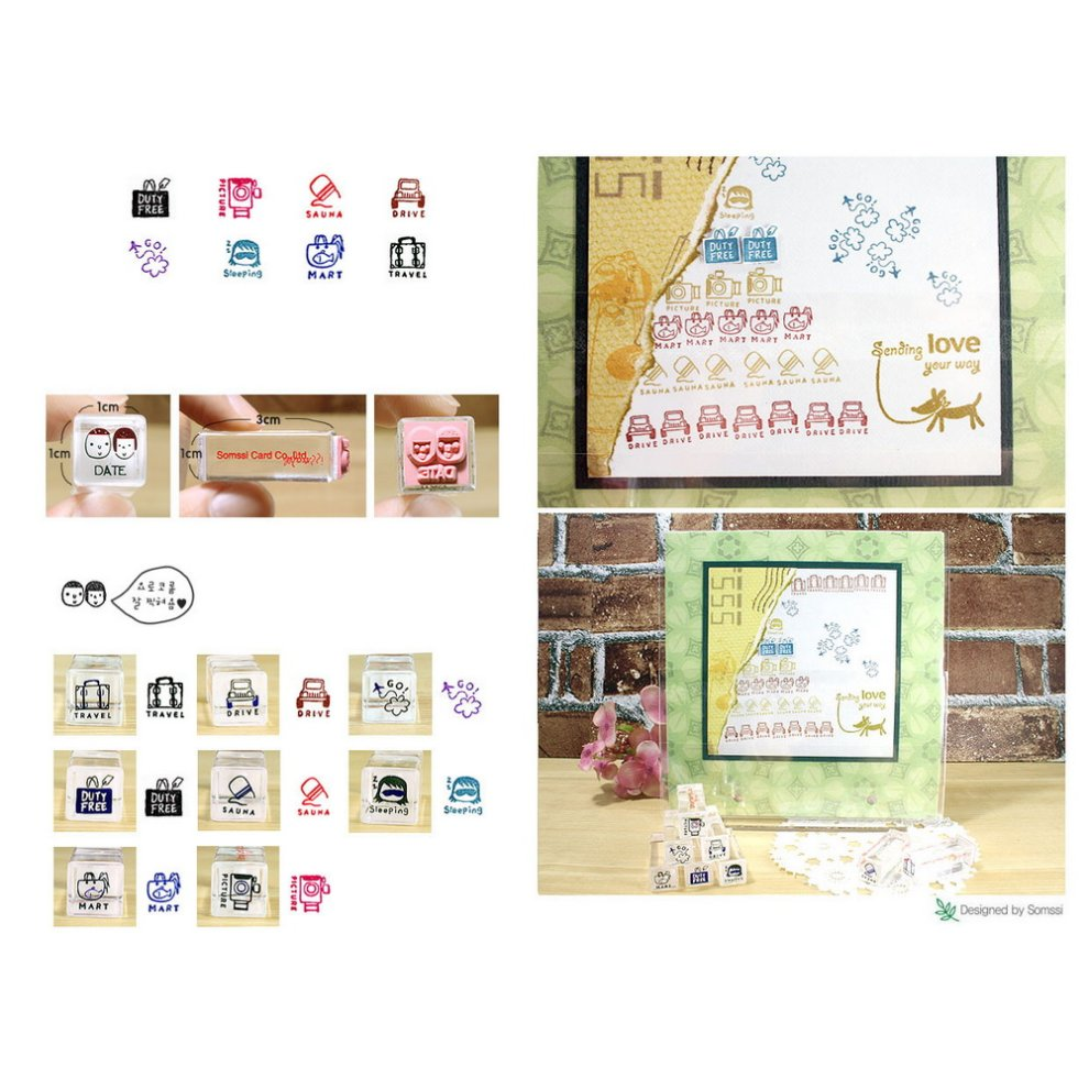 Set Of 8 Mini Crystal Stamps Travel Theme Personalized Stamps Rubber Stamps