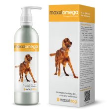 maxxidog - maxxiomega oil for dogs - For healthy skin & shiny coat - Omega 3, 6 & 9, vitamins A, D & E and Biotin - No fishy smell – Easy to use pump – 296 ml