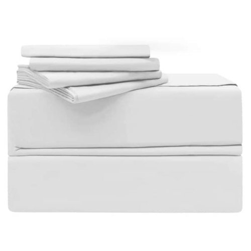Simply the Best YMS008191 Luxury 620 Thread Count 100 Percent Cotton Sheet Set, White - King - 6 Piece