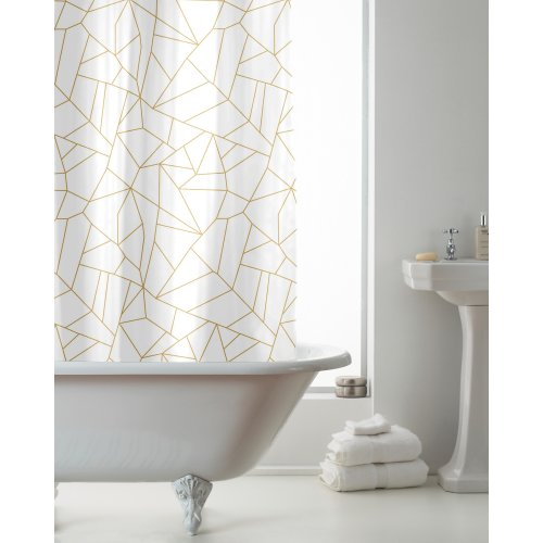 Country Club Hookless Shower Curtain, Gold Geo
