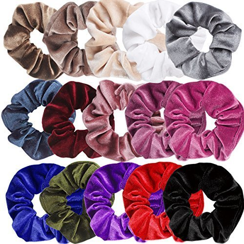 SuPoo 15 Pieces Velvet Scrunchies Hair Scrunchy Elastics Bobbles Soft Hair Bands Hair Ties Ponytail Holder for Women and Girls, 15 Colors