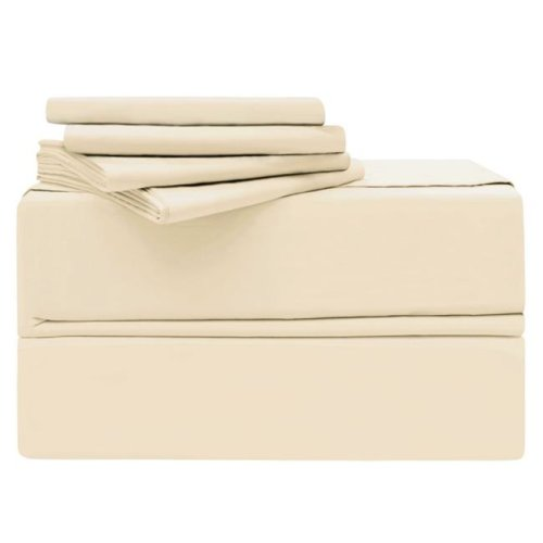 Simply the Best YMS008197 Luxury 620 Thread Count 100 Percent Cotton Sheet Set, Ivory - California King - 6 Piece