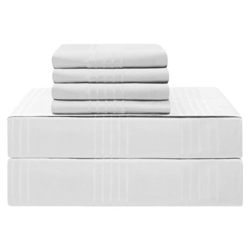 Jean Pierre YMS008212 Premium 420 Thread Count 100 Percent Cotton Sheet Set, White - California King - 6 Piece