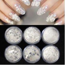 6 Boxes/Set Nail Art Glitter Powder Dust Sequin White Silver Manicure Decoration