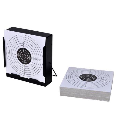 vidaXL Square Target Holder with 100 Paper Targets 14cm Pellet Trap Shooting