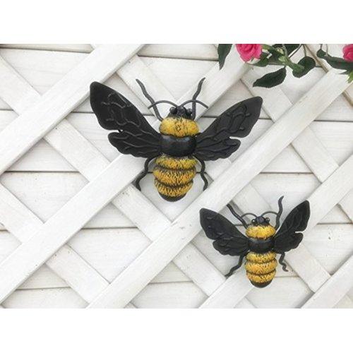Dipamkar® Set of 2 Bumble Bee Metal Wall Art Sculpture Garden Ornament