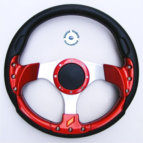 """""""Grand Prix Sport"""" Padded Boat Steering Wheel RED BLACK and SILVER."""