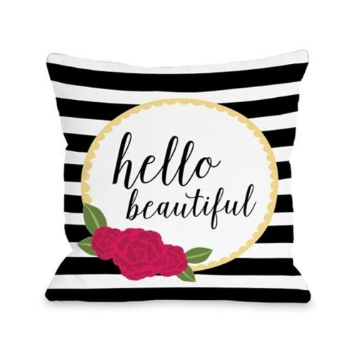 One Bella Casa 74258PL16 Hello Beautiful Pillow by Pen & Paint, Multi Color - 16 x 16 in.