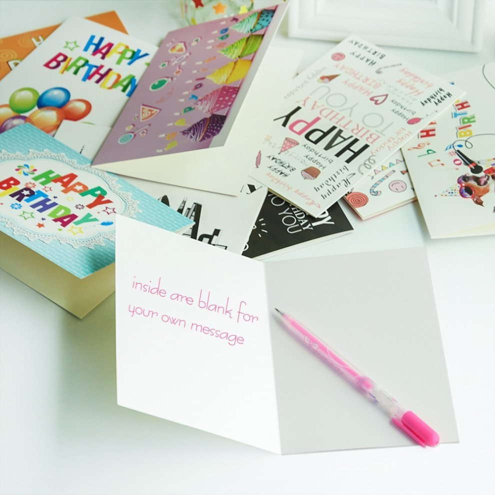 Kuuqa 20 Pieces Happy Birthday Cards With Envelopes Greeting