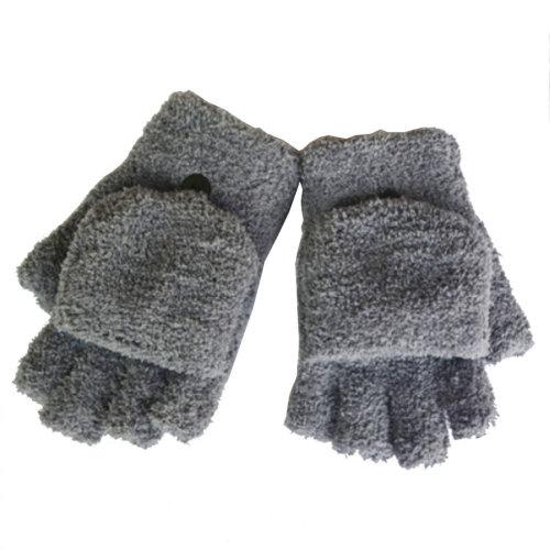 Women's/Girls Fingerless With Mitten Cover Plush Gloves,gray
