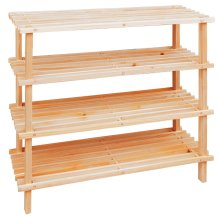4-Tier Slatted Wooden Shoe Rack - Beige