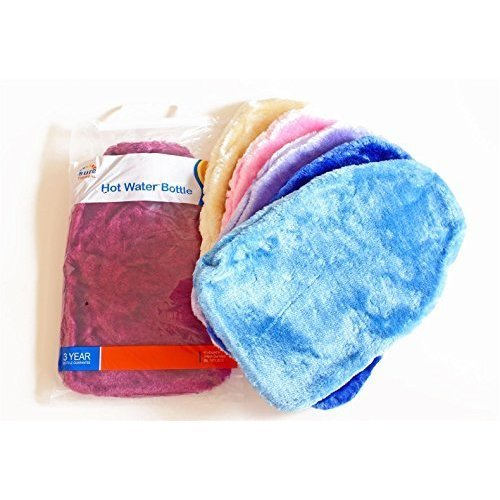 Sure Thermal Faux Fur Covered Hot Water Bottle - 2 Litre (assorted Colours) -  faux fur covered rubber ribbed hot water bottle