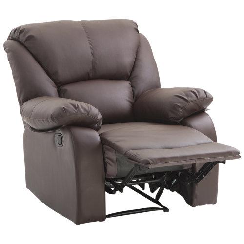 HOMCOM Single Recliner Sofa PU Leather Padded Armrest Chair Reclining Cinema Living Room Tilt Armchair Lounge (Brown)