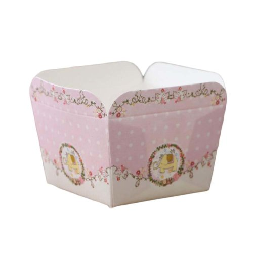 50 Pcs Square Baking Cup Heat-Resistant Cupcake&Muffin Cup Chiffon Cake Cup Pink