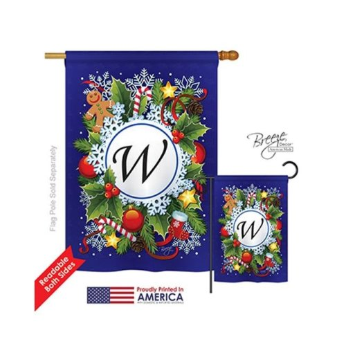 Breeze Decor 30101 Winter W Monogram 2-Sided Vertical Impression House Flag - 28 x 40 in.