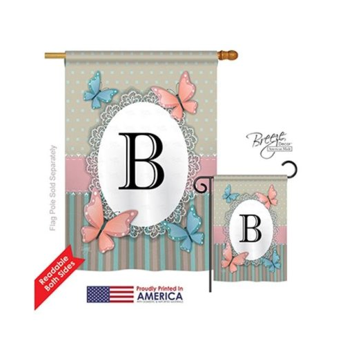 Breeze Decor 30132 Butterflies B Monogram 2-Sided Vertical Impression House Flag - 28 x 40 in.