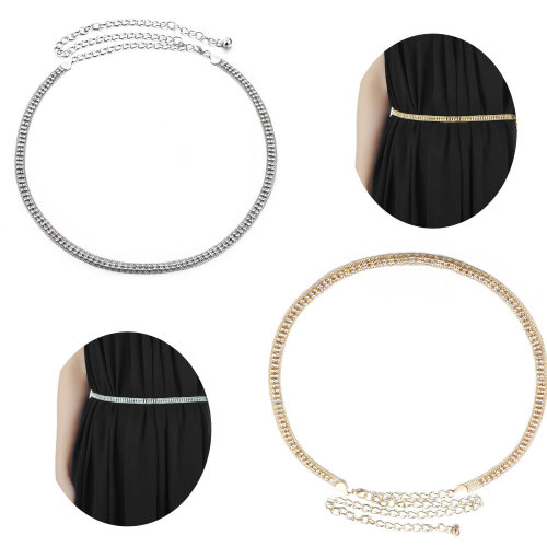 Women's 2 Rows Diamante Waist Chain Belt