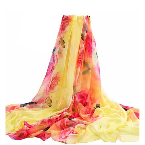 Uv-blocking Silk Scarves Chiffon Fabric Beach Towel Shawl