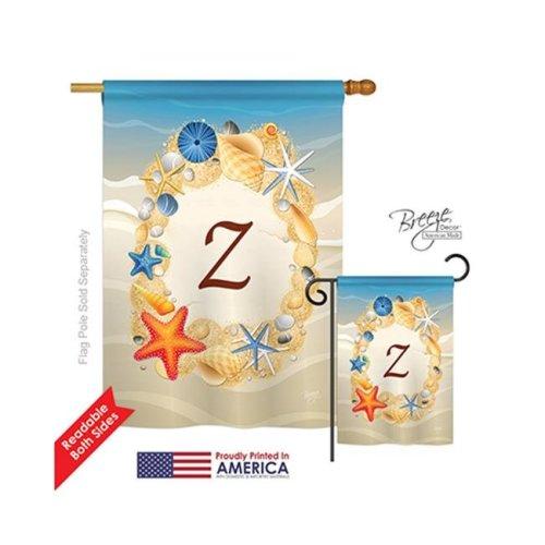 Breeze Decor 30182 Summer Z Monogram 2-Sided Vertical Impression House Flag - 28 x 40 in.