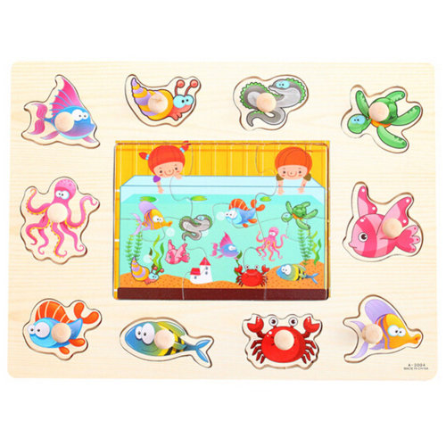 Kids Playschool Preschool Puzzled Educational Toy Wooden Puzzle,Marine Animals