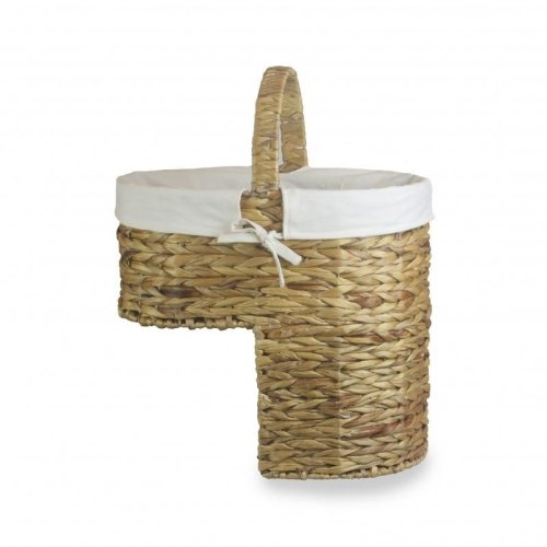 Water Hyacinth Stair Basket with White Cotton Lining
