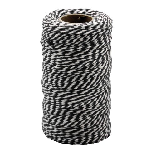 Pbx2471184 - Playbox - Cotton Twine, Black & White, 100 Mtrs X 2mm