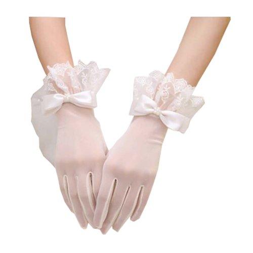 Voile Finger Wrist Length Short Bridal Gloves for Wedding Party Accessory,C