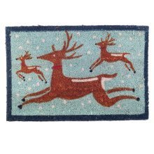 Winter Themed Prancing Reindeer Christmas Coir Doormat