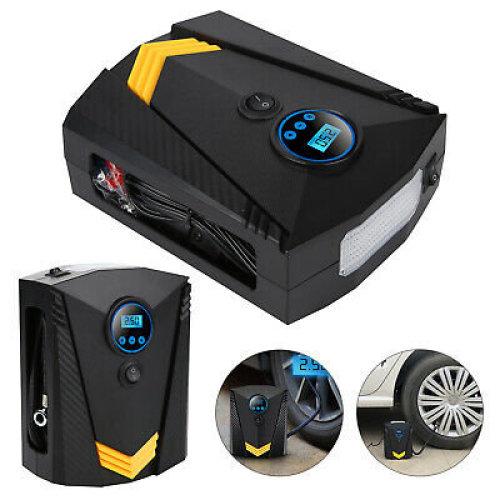 12V Electric Car Tyre Inflator Pump Digital Portable Air Compressor + 3 Adapters