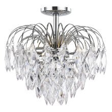 Chrome Semi Flush Waterfall Ceiling Light with Acrylic Pendalogues by Happy Homewares