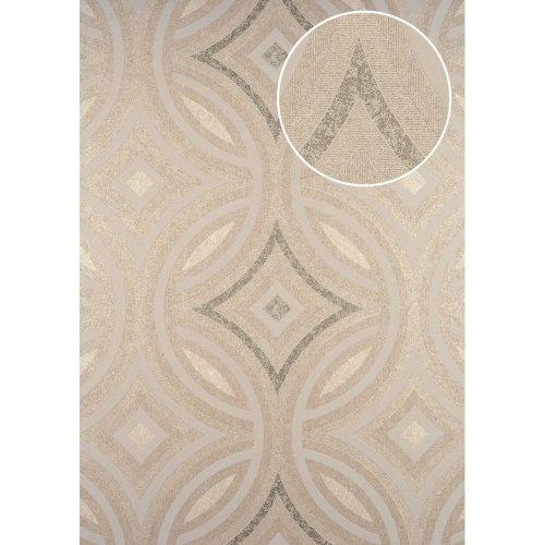 ATLAS HER-5135-4 Graphic wallpaper shimmering cream pearl beige 7.035 sqm