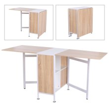 HOMCOM Foldable Drop Leaf Dining Kitchen Table Folding Computer Desk Workstation for Small Space with 2 Storage Shelves Cubes Oak & White