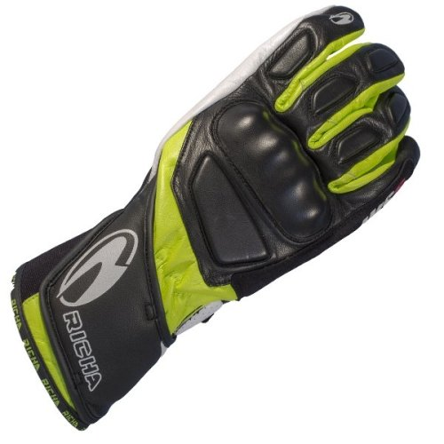 Richa WSS Leather Sports Summer Racing Motorcycle Gloves Black/White/Yellow