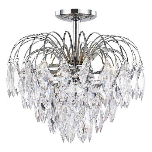Contemporary Crystal Waterfall Ceiling Light | Semi Flush Ceiling Light