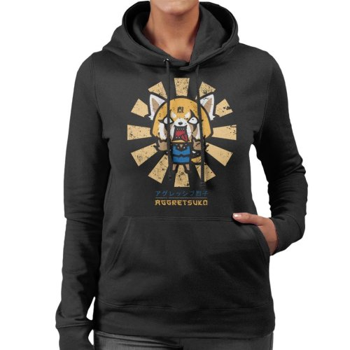 Aggretsuko Retro Japanese Women's Hooded Sweatshirt