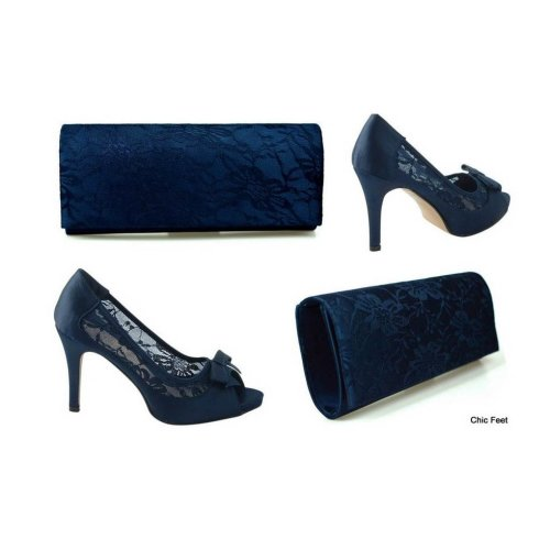 Navy Blue Satin & Lace  High Heel Court Shoes &Bag