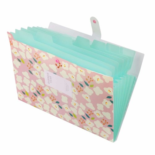eb3e41d60132 OffiConsent 8 Pockets Expanding File Folder Plastic File Organizer Box  Accordion Document Bag Pocket Paper Organizer with Floral Design Snap  Button...