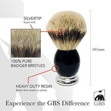 Mens Luxury Silvertip Badger Bristle Shaving Brush Black Handle with Chrome Base Comes with Free Stand from GBS
