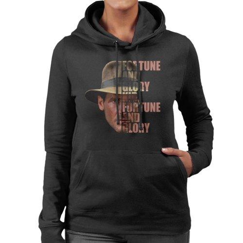 Indiana Jones Half Head Text Women's Hooded Sweatshirt