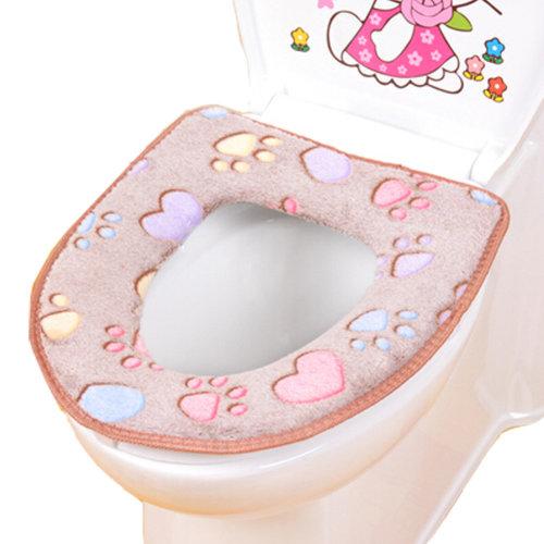 Warm Comfy Toilet Seat Cover -Bathroom Toilet Mat,cat footprint brown