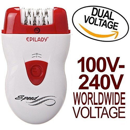 Epilady Speed Corded Epilator EP81044 with Dual Voltage 100240V Power Supply Adapter & International TwoProng Round Pin Plug Adapter (Bundle)