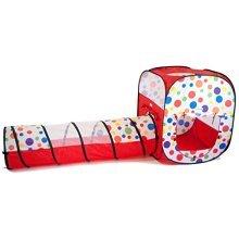 eWonderWorld Polka Dot Rectangular Twist Play Tent w/ Crawl Tunnel, Safety Meshing for Child Visibility & Tote: 2 Piece