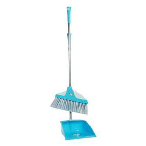 Durable Removable Broom and Dustpan Standing Upright Grips Sweep Set with Long Handle, #C7