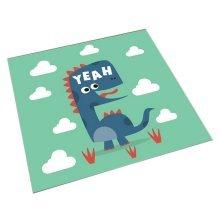 Square Cute Cartoon Children's Rugs, Green And Long-necked Cartoon Dinosaur