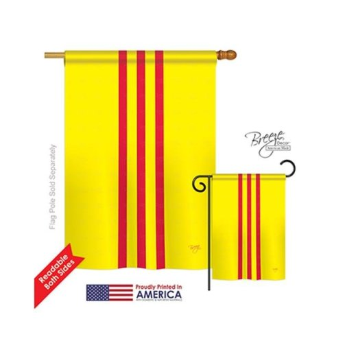 Breeze Decor 08236 South Vietnam 2-Sided Vertical Impression House Flag - 28 x 40 in.